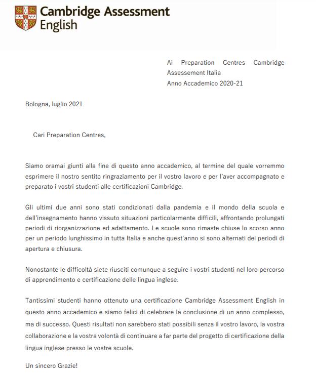 Immagine lettera cambridge